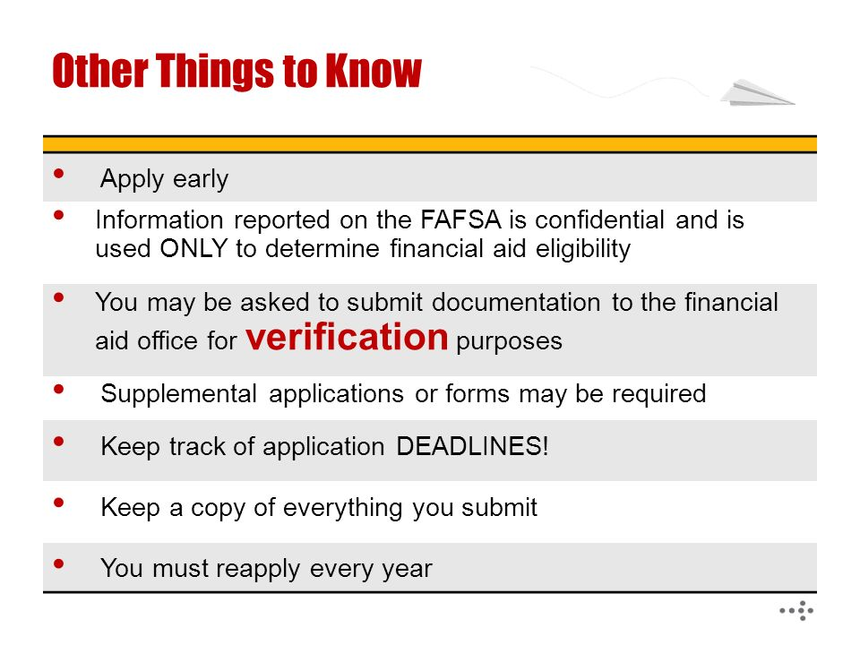 Other Things to Know Apply early Information reported on the FAFSA is confidential and is used ONLY to determine financial aid eligibility You may be asked to submit documentation to the financial aid office for verification purposes Supplemental applications or forms may be required Keep track of application DEADLINES.