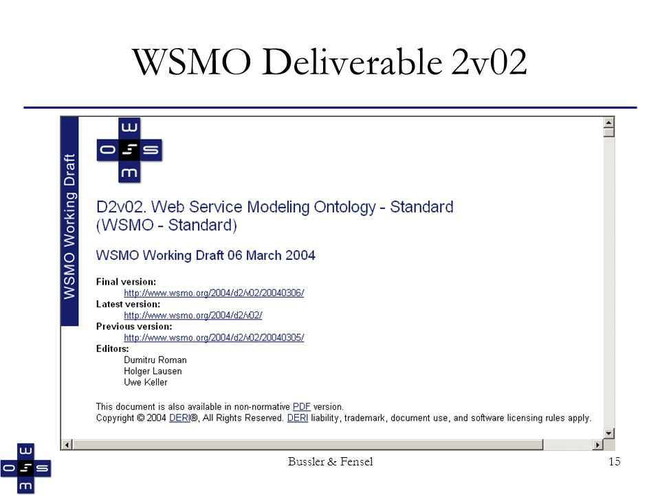 Bussler & Fensel15 WSMO Deliverable 2v02