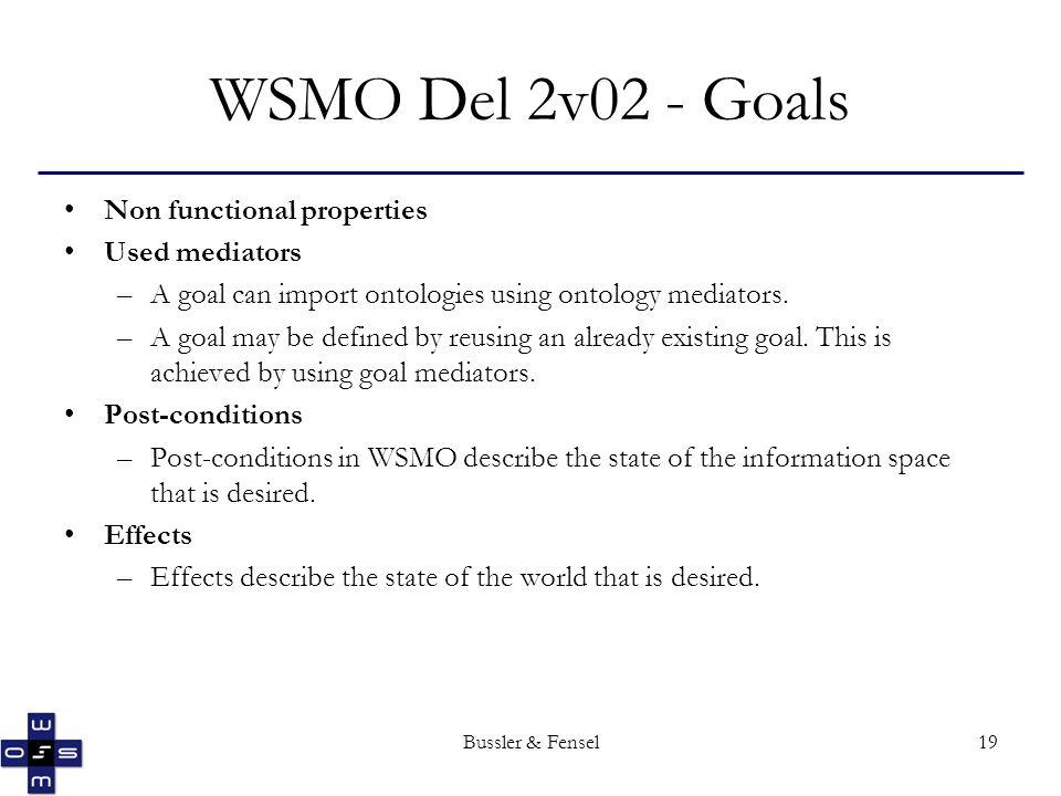 Bussler & Fensel19 WSMO Del 2v02 - Goals Non functional properties Used mediators –A goal can import ontologies using ontology mediators. –A goal may