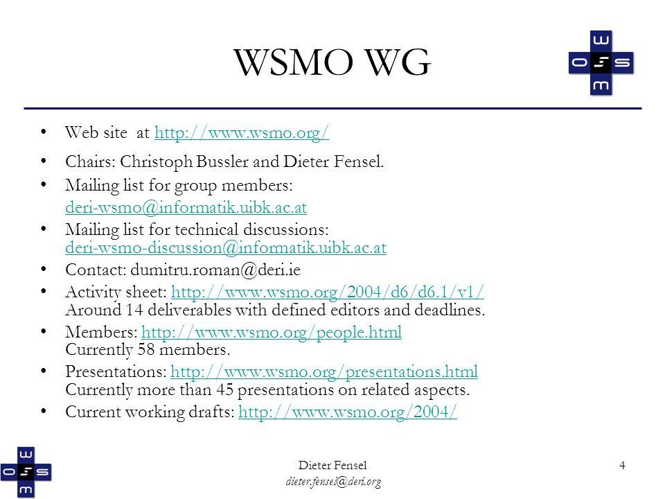 Dieter Fensel dieter.fensel@deri.org 4 WSMO WG Web site at http://www.wsmo.org/http://www.wsmo.org/ Chairs: Christoph Bussler and Dieter Fensel.