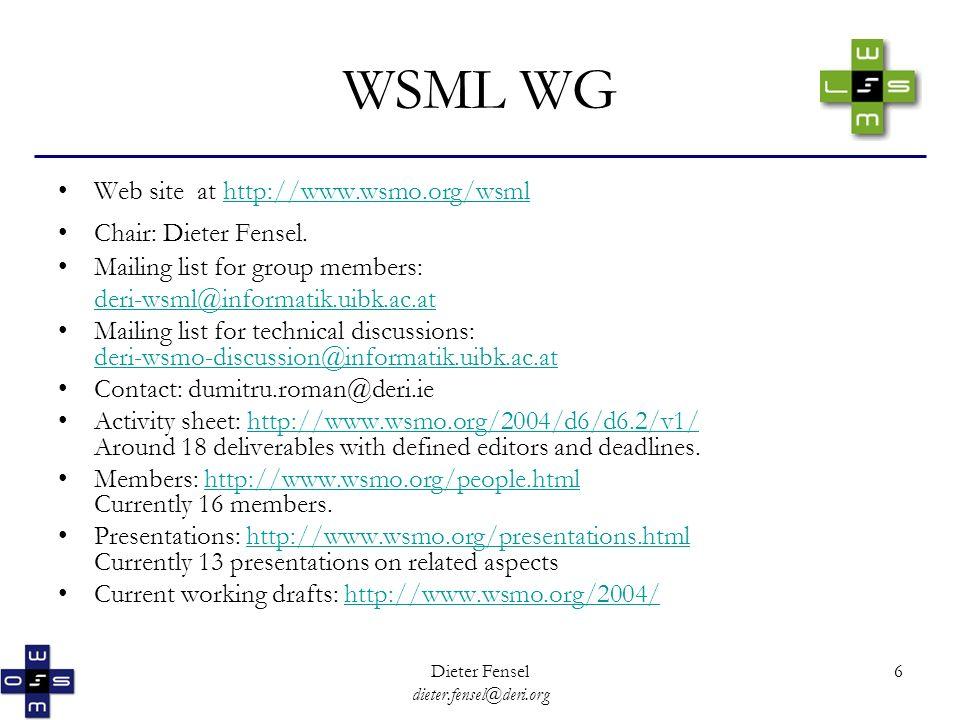 Dieter Fensel dieter.fensel@deri.org 6 WSML WG Web site at http://www.wsmo.org/wsmlhttp://www.wsmo.org/wsml Chair: Dieter Fensel.