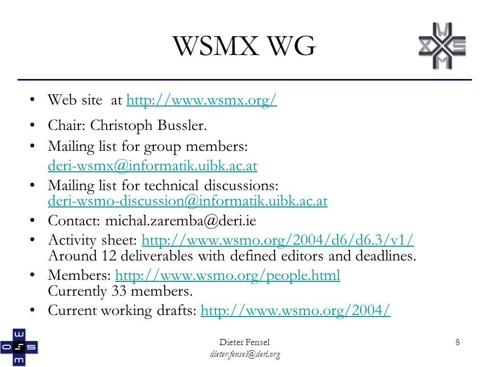 Dieter Fensel dieter.fensel@deri.org 8 WSMX WG Web site at http://www.wsmx.org/http://www.wsmx.org/ Chair: Christoph Bussler.
