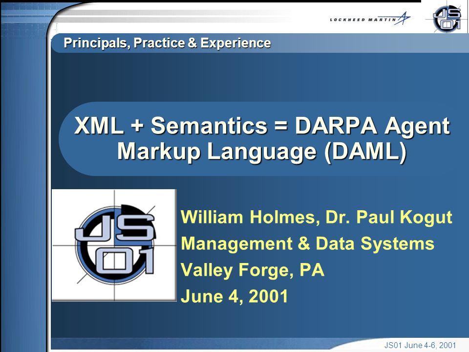 Principals, Practice & Experience JS01 June 4-6, 2001 XML + Semantics = DARPA Agent Markup Language (DAML) William Holmes, Dr.