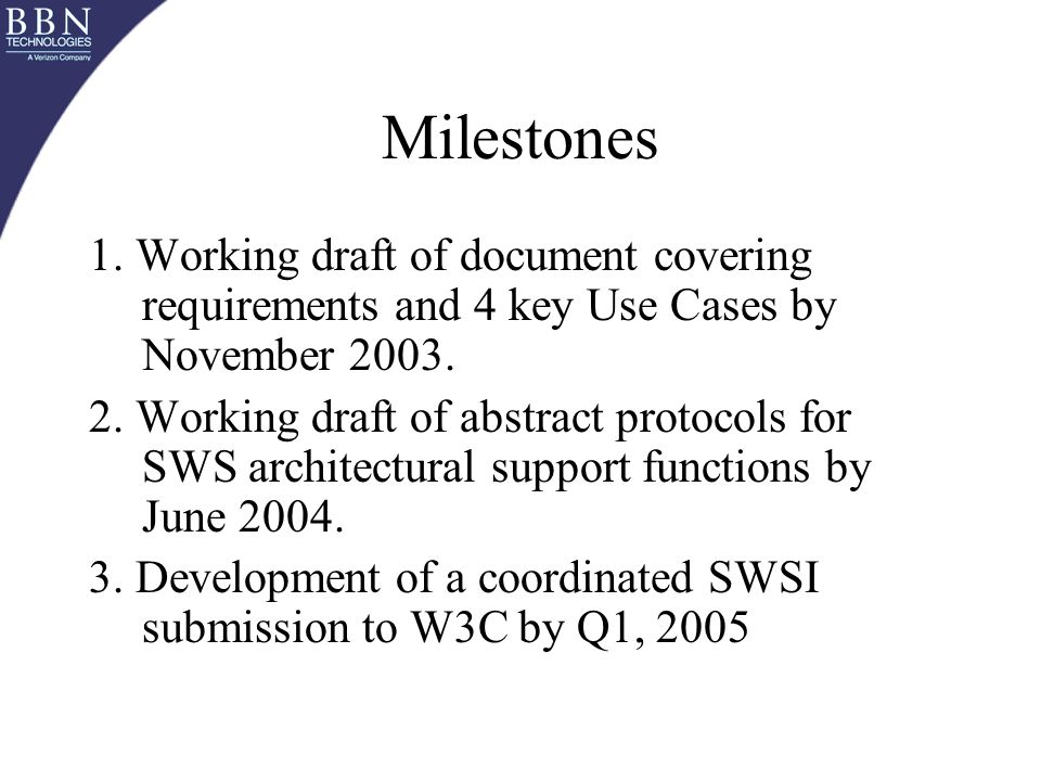 Milestones 1. Working draft of document covering requirements and 4 key Use Cases by November 2003.