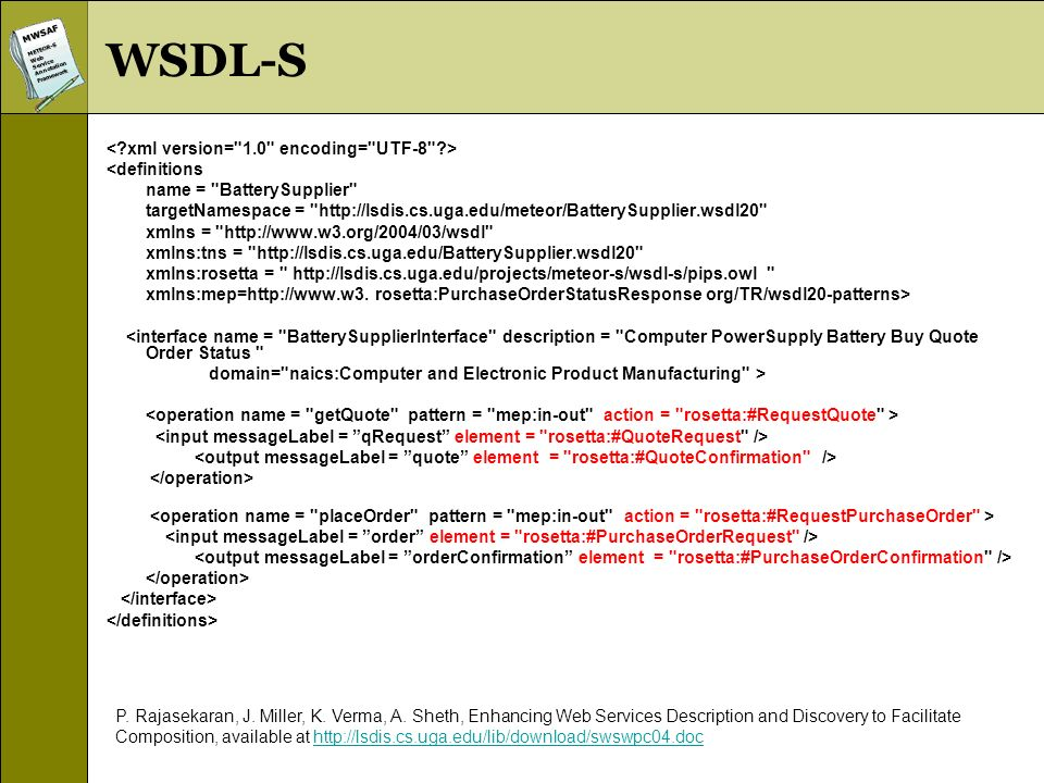 MWSAFMETEOR-SWebServiceAnnotationFramework WSDL-S <definitions name =