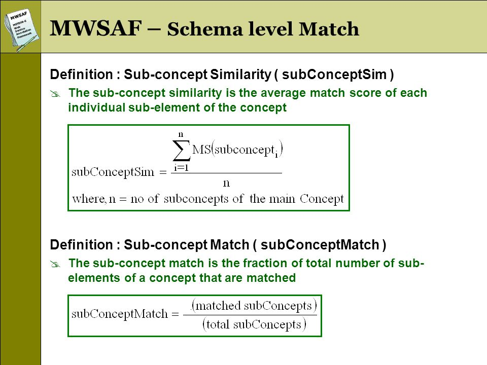 MWSAFMETEOR-SWebServiceAnnotationFramework MWSAF – Schema level Match Definition : Sub-concept Similarity ( subConceptSim ) The sub-concept similarity is the average match score of each individual sub-element of the concept Definition : Sub-concept Match ( subConceptMatch ) The sub-concept match is the fraction of total number of sub- elements of a concept that are matched