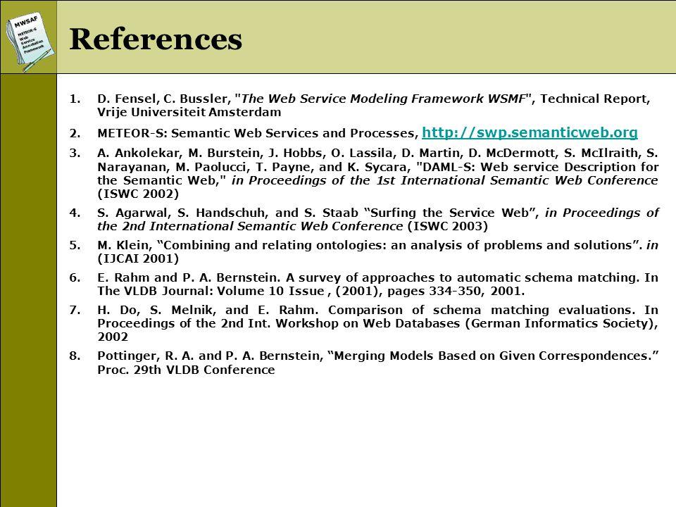 MWSAFMETEOR-SWebServiceAnnotationFramework References 1.D. Fensel, C. Bussler,