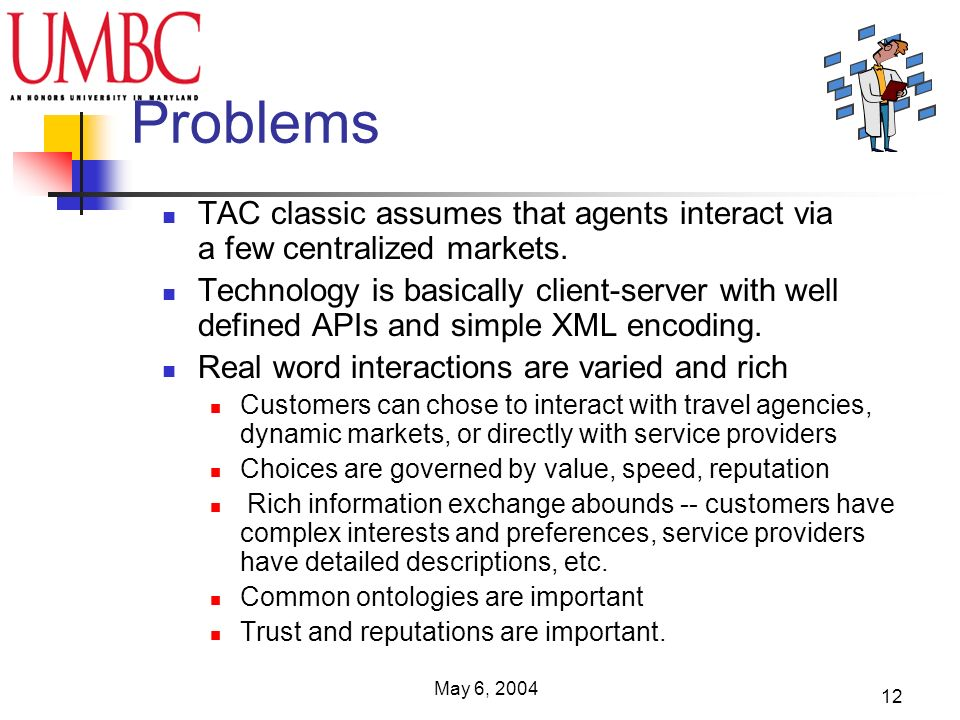 May 6, 2004 12 Problems TAC classic assumes that agents interact via a few centralized markets.