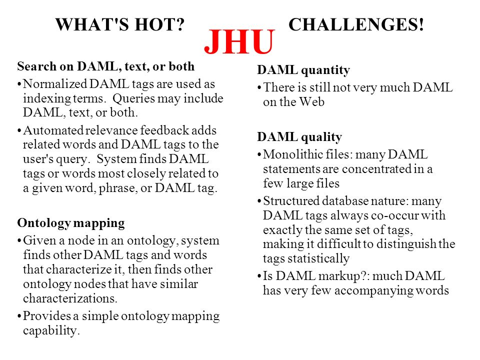 JHU WHAT S HOT. Search on DAML, text, or both Normalized DAML tags are used as indexing terms.