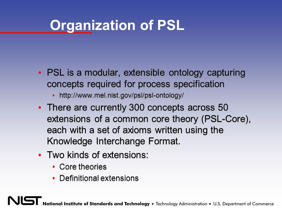 Organization of PSL PSL is a modular, extensible ontology capturing concepts required for process specification http://www.mel.nist.gov/psl/psl-ontology/ There are currently 300 concepts across 50 extensions of a common core theory (PSL-Core), each with a set of axioms written using the Knowledge Interchange Format.