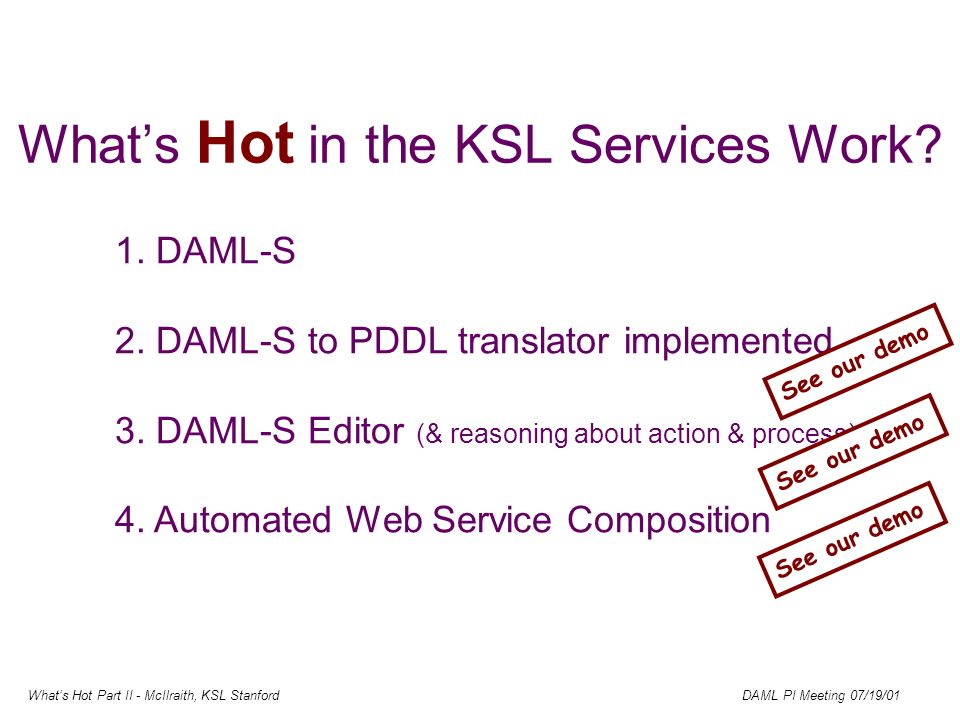Whats Hot Part II - McIlraith, KSL Stanford DAML PI Meeting 07/19/01 Whats Hot in the KSL Services Work.