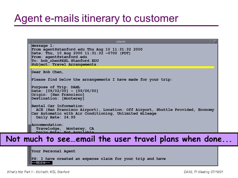 Whats Hot Part II - McIlraith, KSL Stanford DAML PI Meeting 07/19/01 Agent e-mails itinerary to customer Not much to see…email the user travel plans when done...
