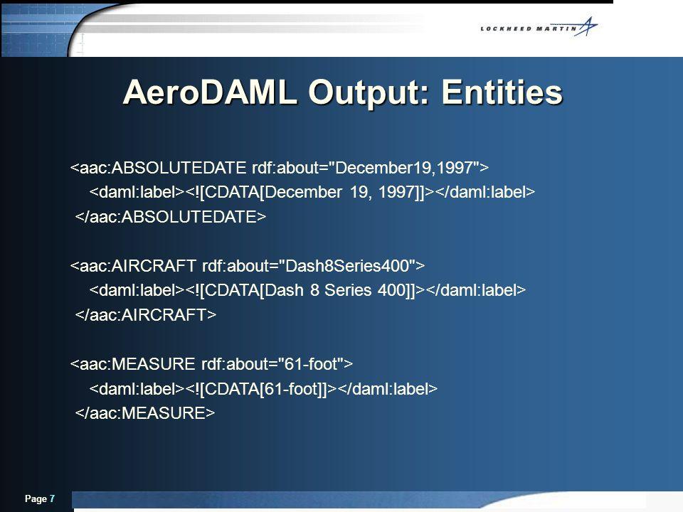 Page 7 AeroDAML Output: Entities