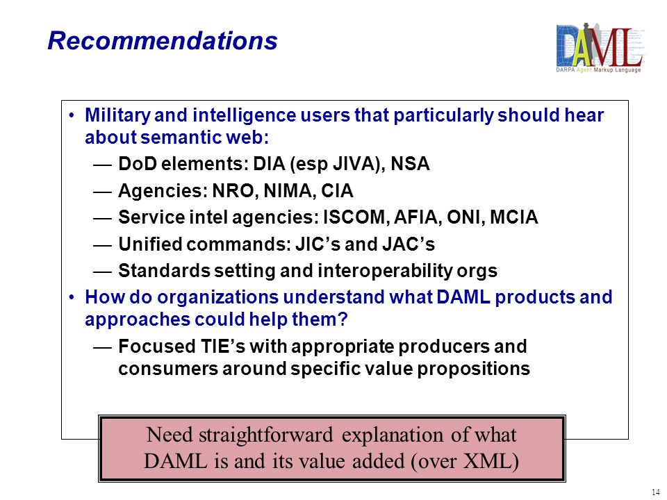 14 Recommendations Military and intelligence users that particularly should hear about semantic web: DoD elements: DIA (esp JIVA), NSA Agencies: NRO, NIMA, CIA Service intel agencies: ISCOM, AFIA, ONI, MCIA Unified commands: JICs and JACs Standards setting and interoperability orgs How do organizations understand what DAML products and approaches could help them.