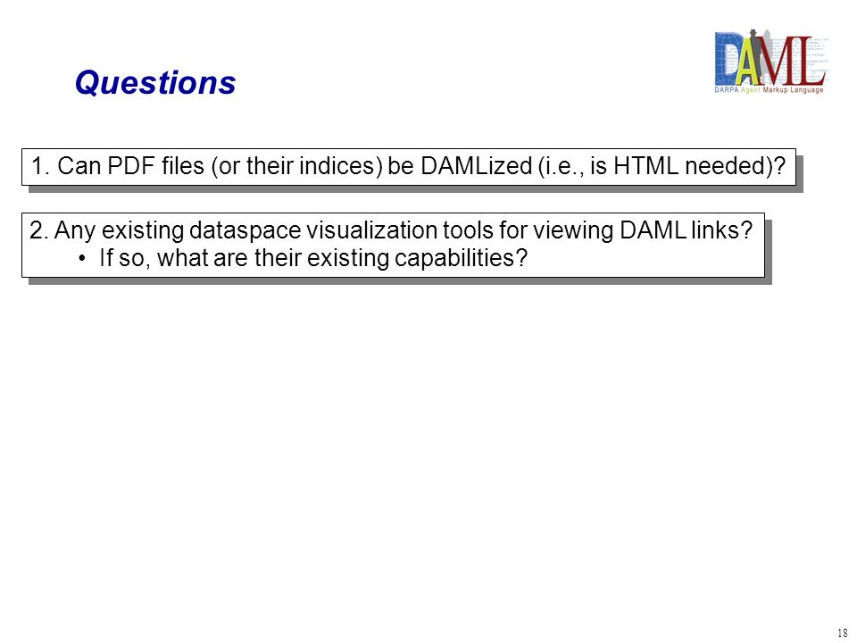 18 Questions 1.Can PDF files (or their indices) be DAMLized (i.e., is HTML needed).