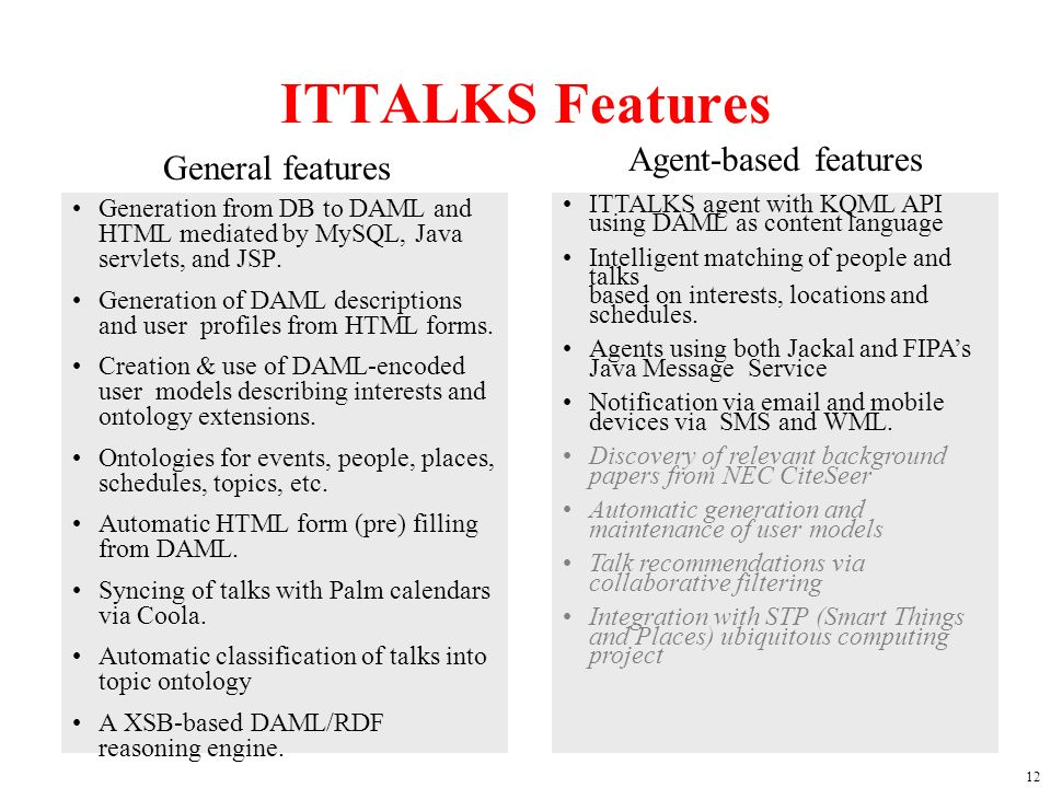 12 ITTALKS Features Generation from DB to DAML and HTML mediated by MySQL, Java servlets, and JSP.