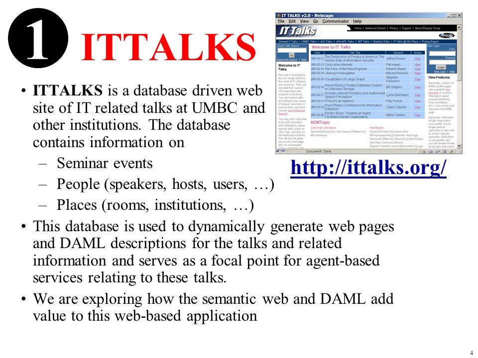 4 ITTALKS ITTALKS is a database driven web site of IT related talks at UMBC and other institutions.