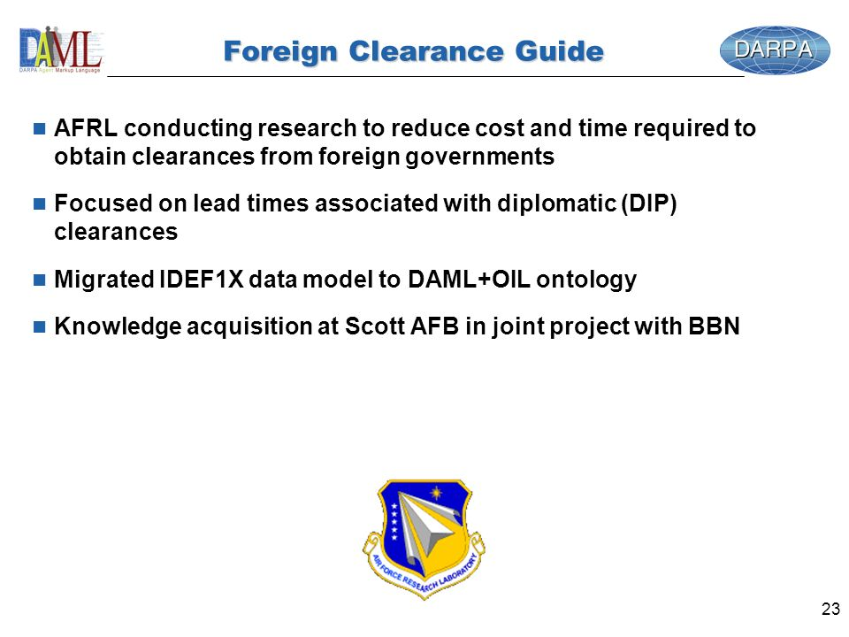 23 Foreign Clearance Guide n AFRL conducting research to reduce cost and time required to obtain clearances from foreign governments n Focused on lead times associated with diplomatic (DIP) clearances n Migrated IDEF1X data model to DAML+OIL ontology n Knowledge acquisition at Scott AFB in joint project with BBN