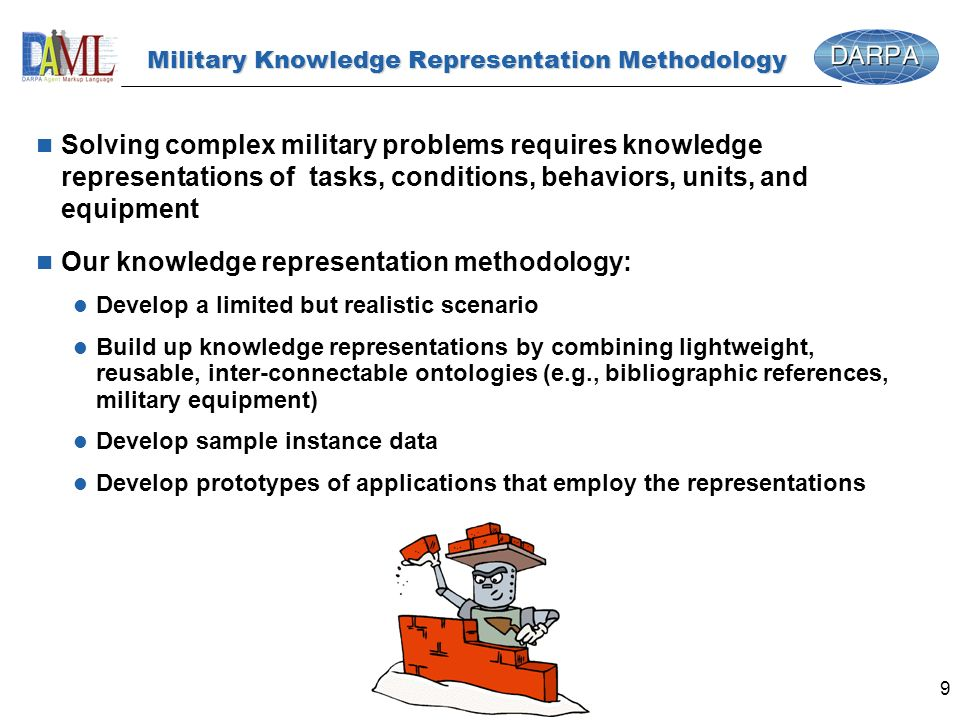 9 Military Knowledge Representation Methodology n Solving complex military problems requires knowledge representations of tasks, conditions, behaviors, units, and equipment n Our knowledge representation methodology: l Develop a limited but realistic scenario l Build up knowledge representations by combining lightweight, reusable, inter-connectable ontologies (e.g., bibliographic references, military equipment) l Develop sample instance data l Develop prototypes of applications that employ the representations
