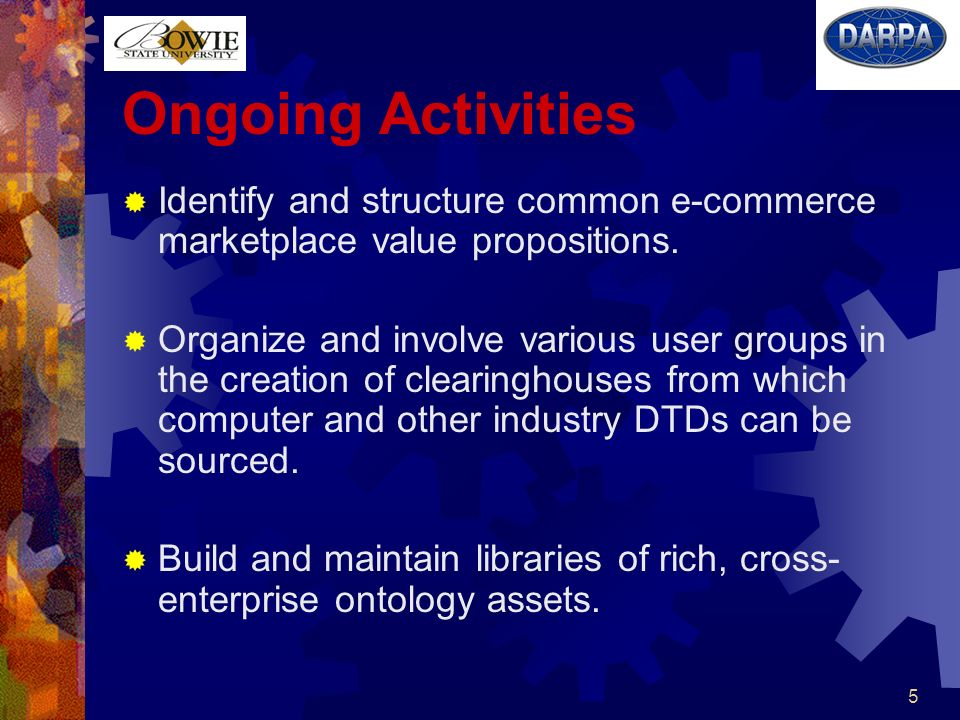 6 Ongoing Activities (contd) Plan a workshop to establish the baseline for developing a common, dynamically extensible ontology base for the computer manufacturing industry.