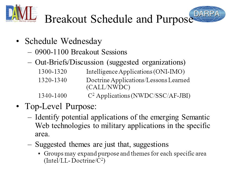 Breakout Schedule and Purpose Schedule Wednesday – Breakout Sessions –Out-Briefs/Discussion (suggested organizations) Intelligence Applications (ONI-IMO) Doctrine Applications/Lessons Learned (CALL/NWDC) C 2 Applications (NWDC/SSC/AF-JBI) Top-Level Purpose: –Identify potential applications of the emerging Semantic Web technologies to military applications in the specific area.