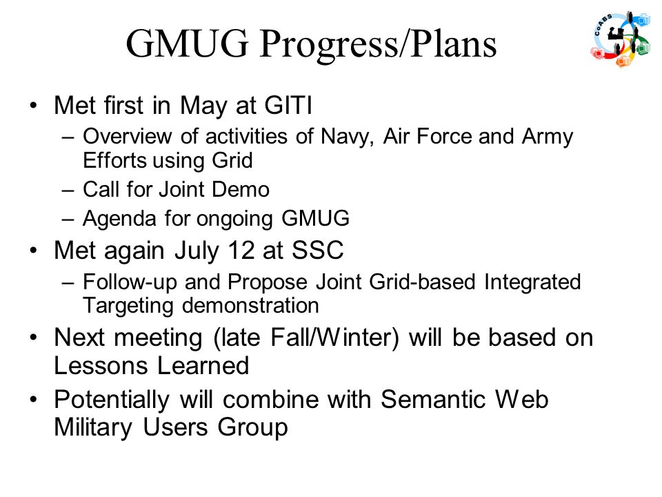 GMUG Progress/Plans Met first in May at GITI –Overview of activities of Navy, Air Force and Army Efforts using Grid –Call for Joint Demo –Agenda for o