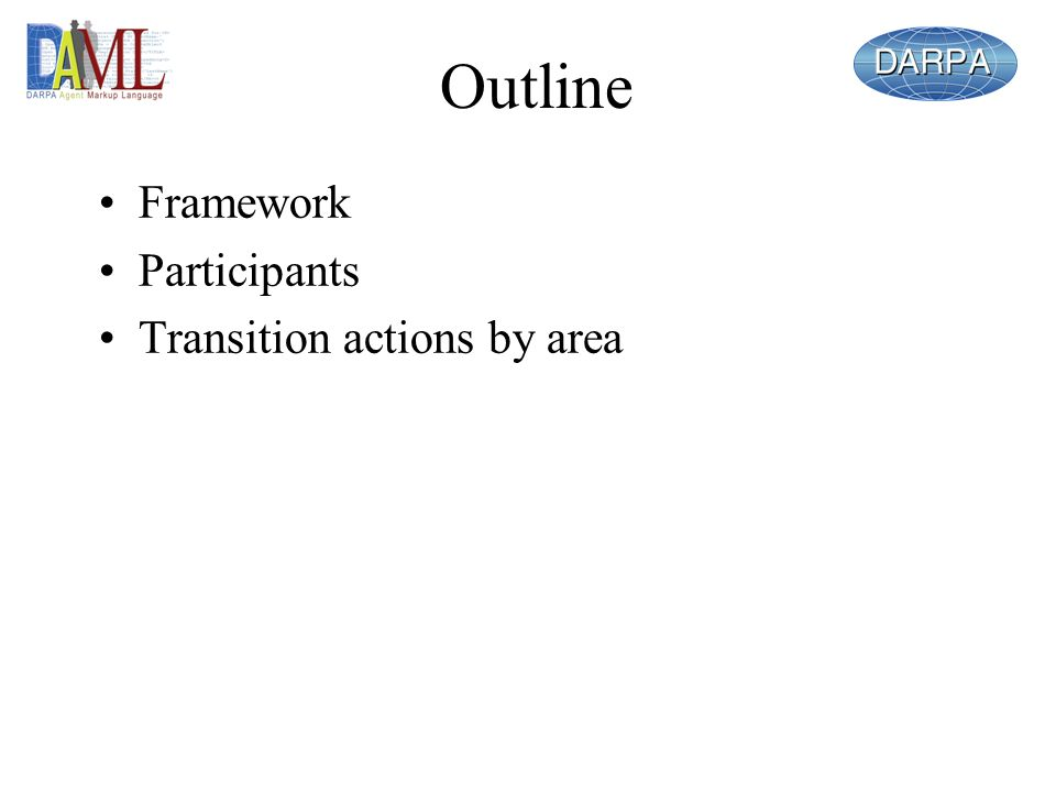 Outline Framework Participants Transition actions by area