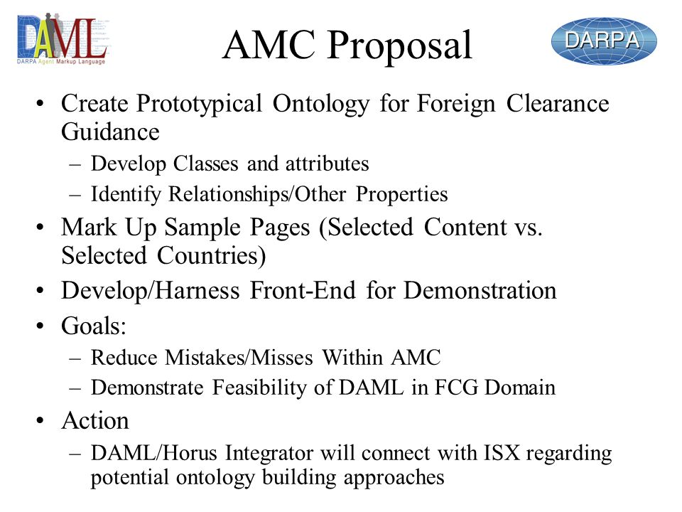 AMC Proposal Create Prototypical Ontology for Foreign Clearance Guidance –Develop Classes and attributes –Identify Relationships/Other Properties Mark