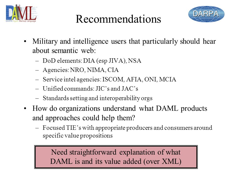 Recommendations Military and intelligence users that particularly should hear about semantic web: –DoD elements: DIA (esp JIVA), NSA –Agencies: NRO, N
