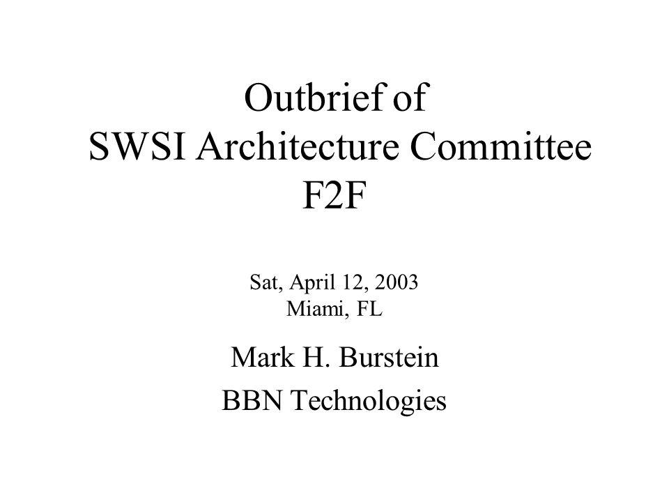 Outbrief of SWSI Architecture Committee F2F Sat, April 12, 2003 Miami, FL Mark H. Burstein BBN Technologies