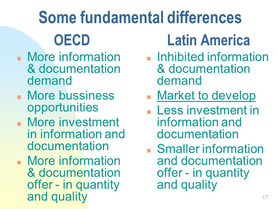 17 Some fundamental differences OECD n More information & documentation demand n More bussiness opportunities n More investment in information and documentation n More information & documentation offer - in quantity and quality Latin America n Inhibited information & documentation demand n Market to develop n Less investment in information and documentation n Smaller information and documentation offer - in quantity and quality