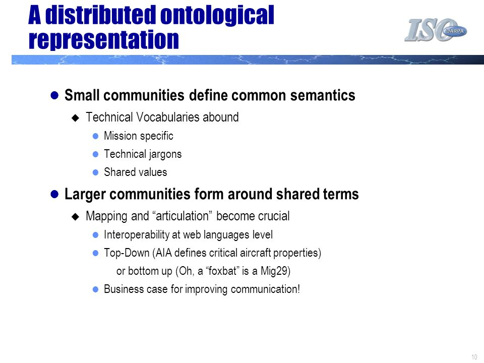 10 A distributed ontological representation Small communities define common semantics Technical Vocabularies abound Mission specific Technical jargons