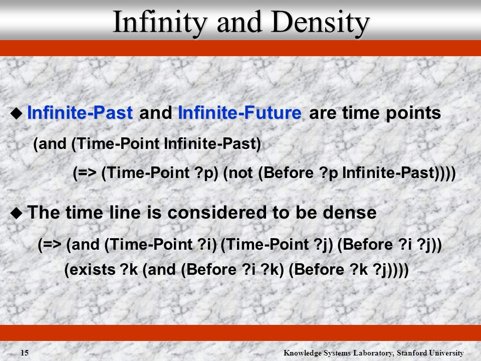 Knowledge Systems Laboratory, Stanford University15 Infinity and Density Infinite-PastInfinite-Future Infinite-Past and Infinite-Future are time points (and (Time-Point Infinite-Past) (=> (Time-Point ?p) (not (Before ?p Infinite-Past)))) The time line is considered to be dense (=> (and (Time-Point ?i) (Time-Point ?j) (Before ?i ?j)) (exists ?k (and (Before ?i ?k) (Before ?k ?j))))