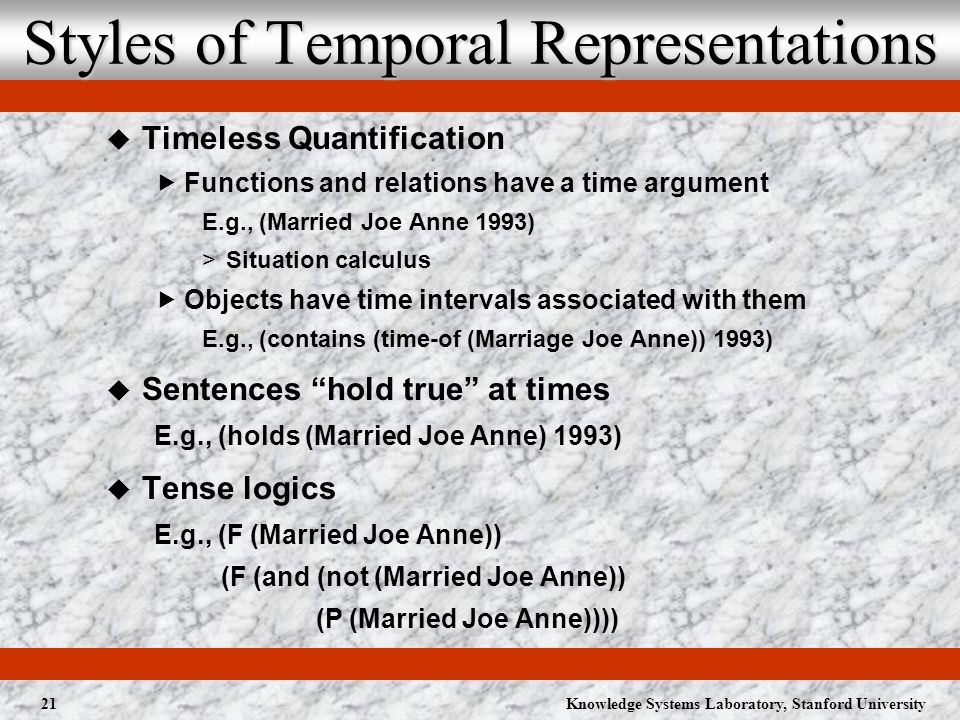 Knowledge Systems Laboratory, Stanford University21 Styles of Temporal Representations Timeless Quantification Functions and relations have a time argument E.g., (Married Joe Anne 1993) >Situation calculus Objects have time intervals associated with them E.g., (contains (time-of (Marriage Joe Anne)) 1993) Sentences hold true at times E.g., (holds (Married Joe Anne) 1993) Tense logics E.g., (F (Married Joe Anne)) (F (and (not (Married Joe Anne)) (P (Married Joe Anne))))
