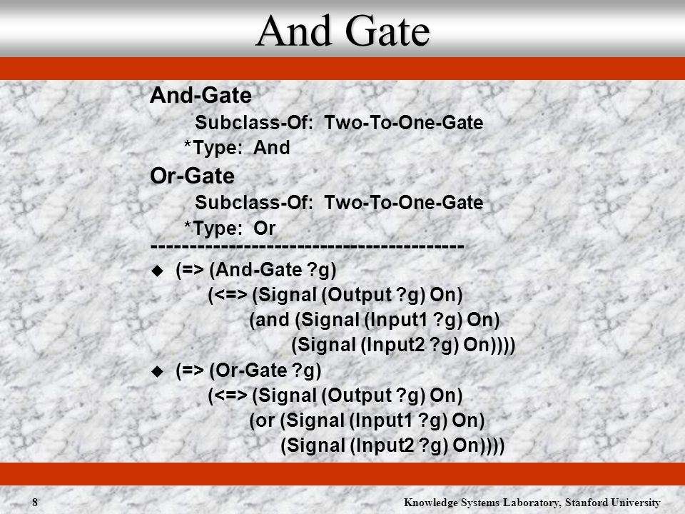 Knowledge Systems Laboratory, Stanford University9 Xor Gate Xor-Gate Subclass-Of: Two-To-One-Gate *Type: Xor ----------------------------------------- (=> (Xor-Gate ?g) ( (Signal (Output ?g) On) (or (and (Signal (Input1 ?g) On) (Signal (Input2 ?g) Off)) (and (Signal (Input1 ?g) Off) (Signal (Input2 ?g) On)))))