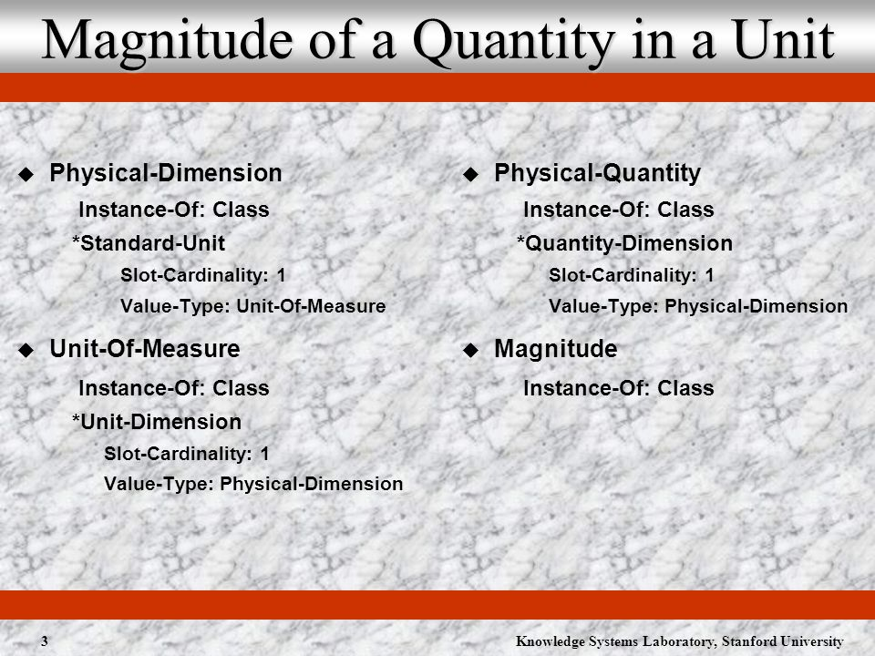 Knowledge Systems Laboratory, Stanford University3 Magnitude of a Quantity in a Unit Physical-Dimension Instance-Of: Class *Standard-Unit Slot-Cardinality: 1 Value-Type: Unit-Of-Measure Unit-Of-Measure Instance-Of: Class *Unit-Dimension Slot-Cardinality: 1 Value-Type: Physical-Dimension Physical-Quantity Instance-Of: Class *Quantity-Dimension Slot-Cardinality: 1 Value-Type: Physical-Dimension Magnitude Instance-Of: Class