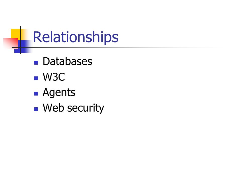 Relationships Databases W3C Agents Web security