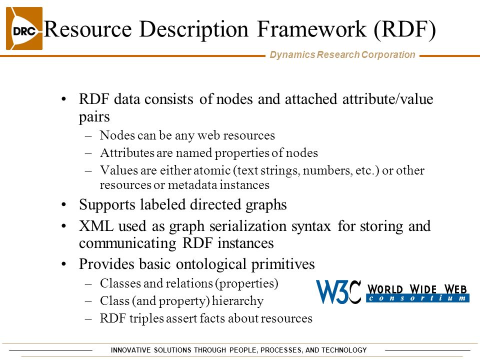 INNOVATIVE SOLUTIONS THROUGH PEOPLE, PROCESSES, AND TECHNOLOGY Dynamics Research Corporation Resource Description Framework (RDF) RDF data consists of