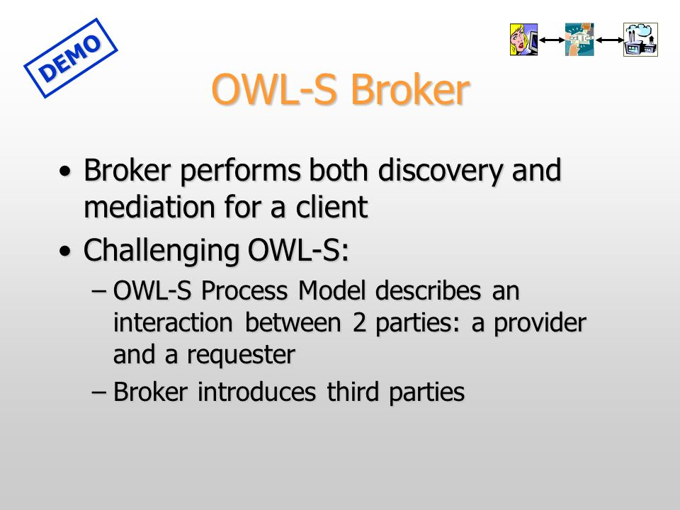 OWL-S Broker Broker performs both discovery and mediation for a clientBroker performs both discovery and mediation for a client Challenging OWL-S:Challenging OWL-S: –OWL-S Process Model describes an interaction between 2 parties: a provider and a requester –Broker introduces third parties DEMO