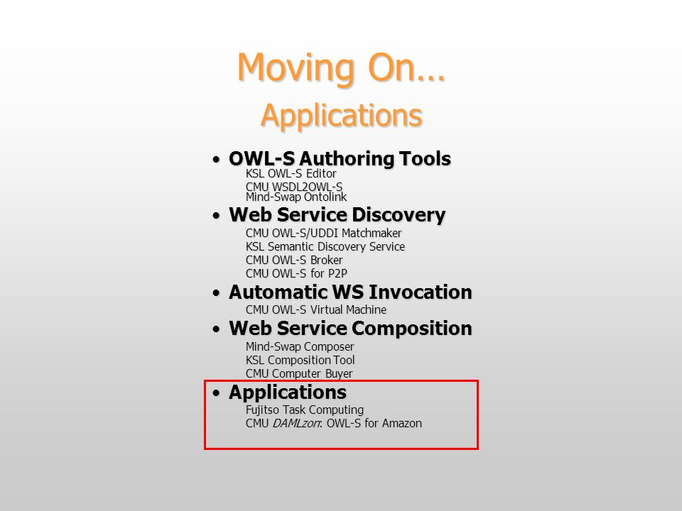Moving On… Applications OWL-S Authoring ToolsOWL-S Authoring Tools KSL OWL-S Editor CMU WSDL2OWL-S Mind-Swap Ontolink Web Service DiscoveryWeb Service