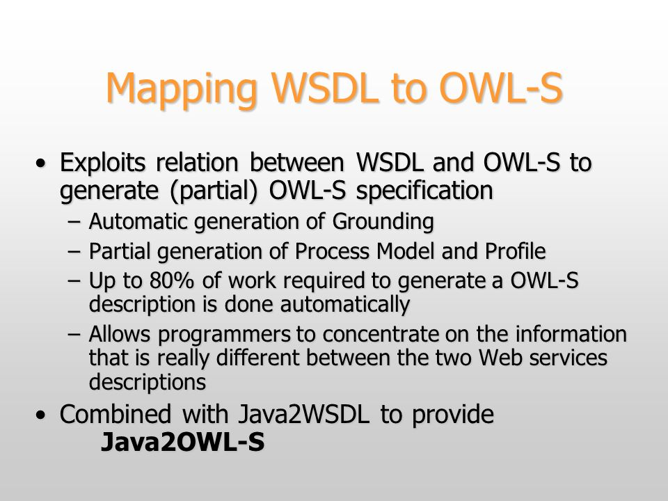 Mapping WSDL to OWL-S Exploits relation between WSDL and OWL-S to generate (partial) OWL-S specificationExploits relation between WSDL and OWL-S to generate (partial) OWL-S specification –Automatic generation of Grounding –Partial generation of Process Model and Profile –Up to 80% of work required to generate a OWL-S description is done automatically –Allows programmers to concentrate on the information that is really different between the two Web services descriptions Combined with Java2WSDL to provide Java2OWL-SCombined with Java2WSDL to provide Java2OWL-S