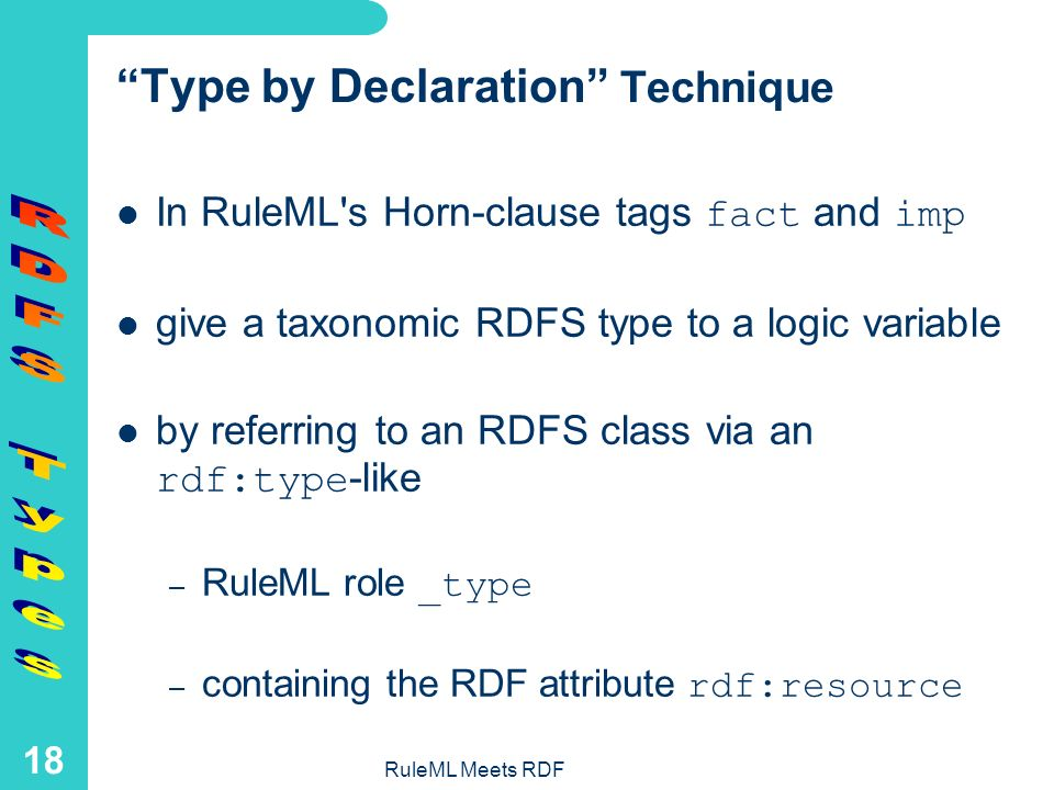 RuleML Meets RDF 17 A Discounting Rule with Customer and Product Variables Typed by Applications: discount cust prod 5.0 percent cust premium cust prod regular prod Given that cust has type Customer and prod has type Product, the discount for a cust buying a prod is 5.0 percent if the cust is premium and the prod is regular.