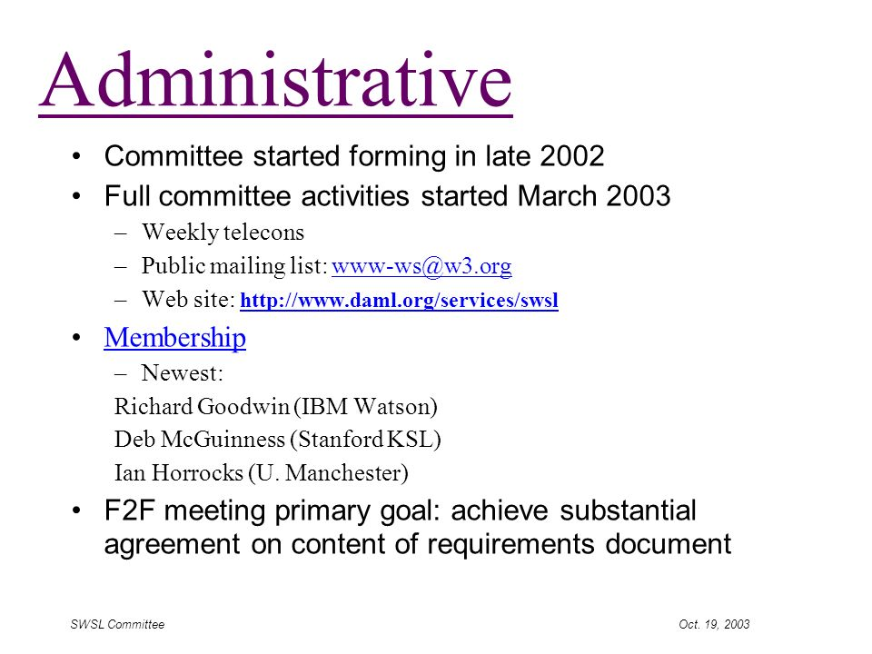 SWSL Committee Oct.