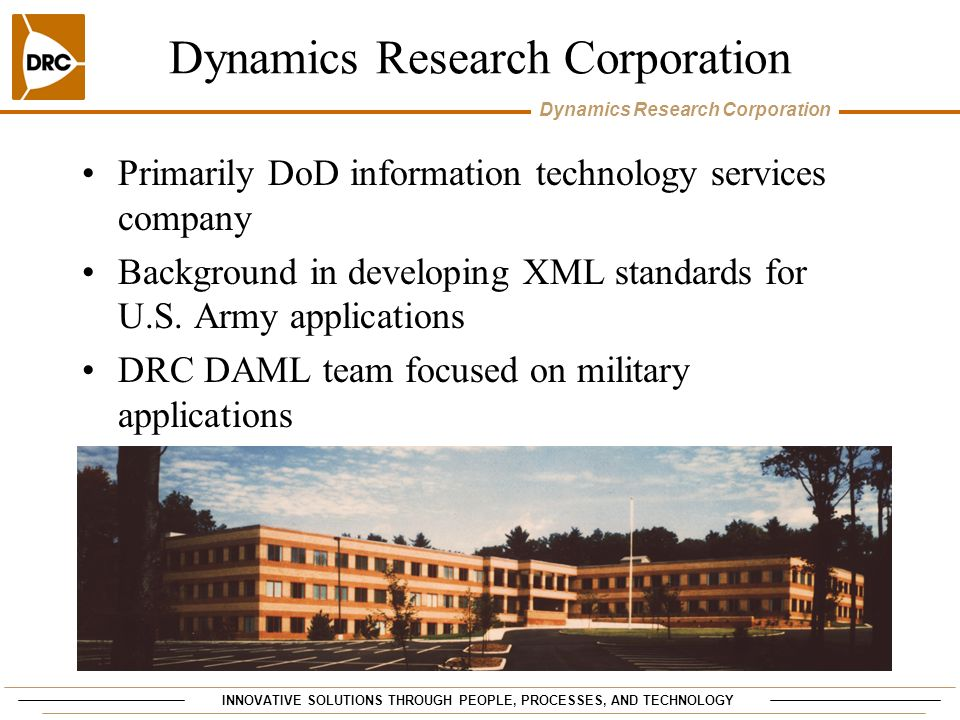INNOVATIVE SOLUTIONS THROUGH PEOPLE, PROCESSES, AND TECHNOLOGY Dynamics Research Corporation Ontology Development Philosophy Building block approach Focused on developing small, reusable, inter- connectable ontologies (e.g., bibliographic references, military equipment)