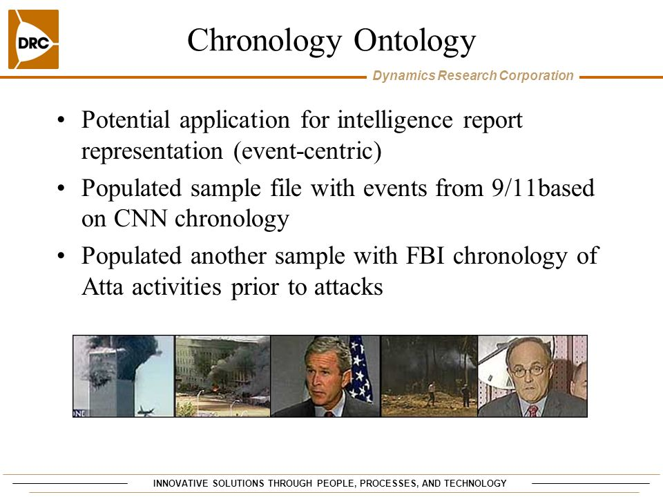 INNOVATIVE SOLUTIONS THROUGH PEOPLE, PROCESSES, AND TECHNOLOGY Dynamics Research Corporation Chronology Ontology Potential application for intelligence report representation (event-centric) Populated sample file with events from 9/11based on CNN chronology Populated another sample with FBI chronology of Atta activities prior to attacks