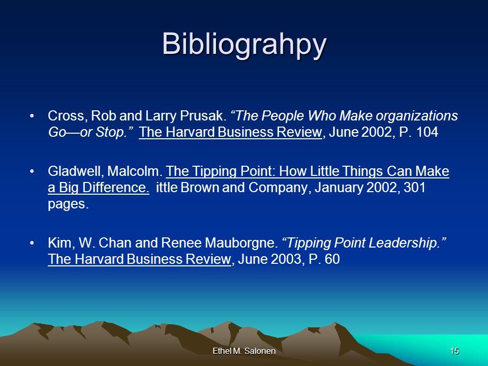 Ethel M. Salonen15 Bibliograhpy Cross, Rob and Larry Prusak.