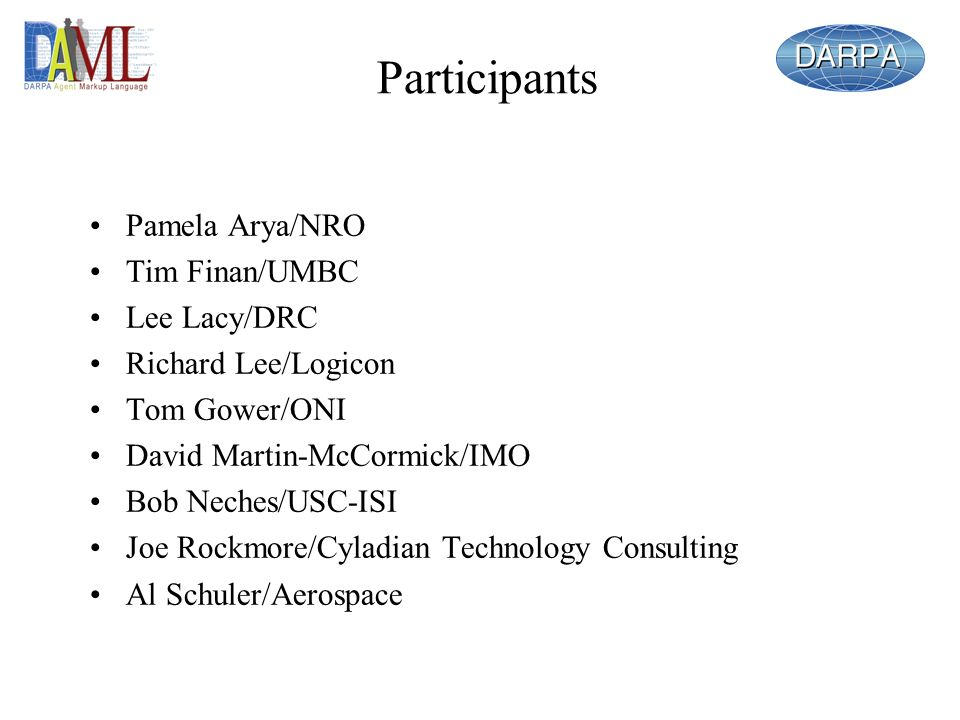 Participants Pamela Arya/NRO Tim Finan/UMBC Lee Lacy/DRC Richard Lee/Logicon Tom Gower/ONI David Martin-McCormick/IMO Bob Neches/USC-ISI Joe Rockmore/Cyladian Technology Consulting Al Schuler/Aerospace