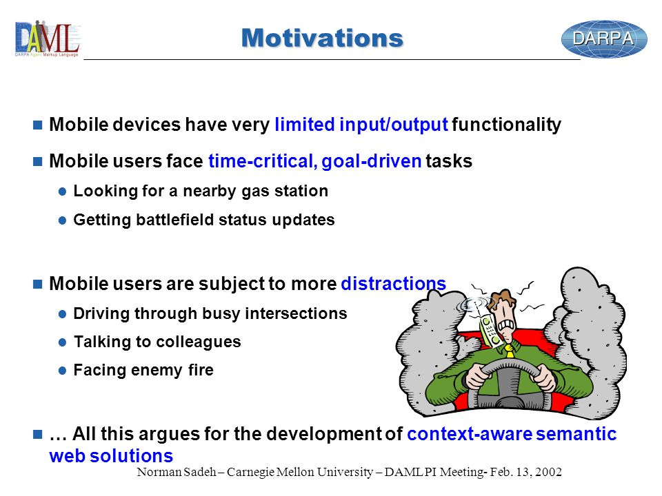 Norman Sadeh – Carnegie Mellon University – DAML PI Meeting- Feb. 13, 2002 n Mobile devices have very limited input/output functionality n Mobile user