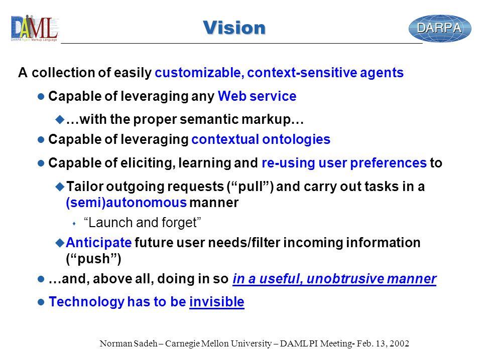 Norman Sadeh – Carnegie Mellon University – DAML PI Meeting- Feb. 13, 2002 Vision A collection of easily customizable, context-sensitive agents l Capa