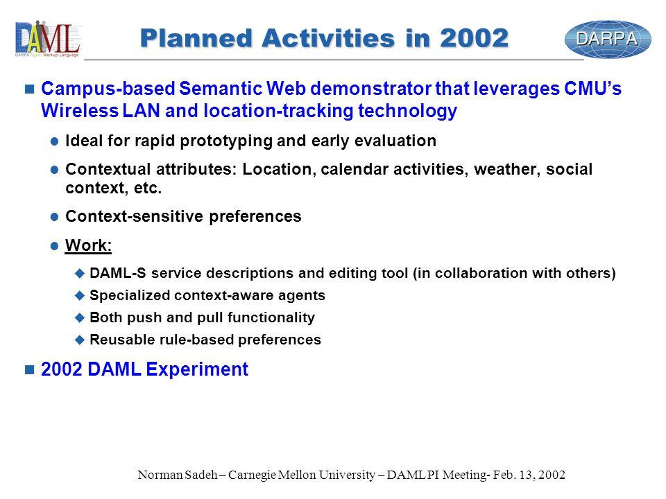 Norman Sadeh – Carnegie Mellon University – DAML PI Meeting- Feb. 13, 2002 Planned Activities in 2002 n Campus-based Semantic Web demonstrator that le